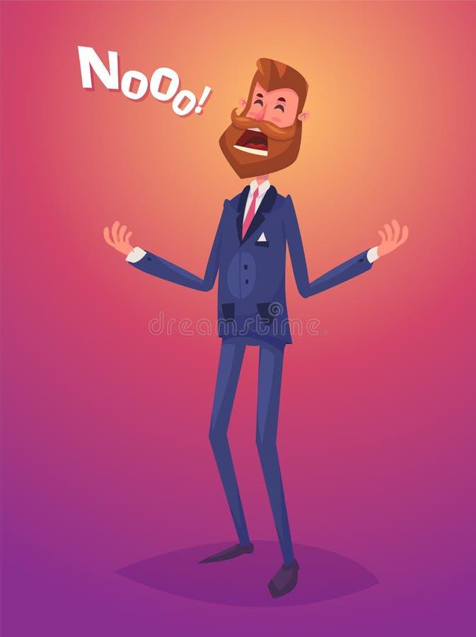 Caractère drôle d'homme d'affaires de déception Illustration de vecteur illustration libre de droits