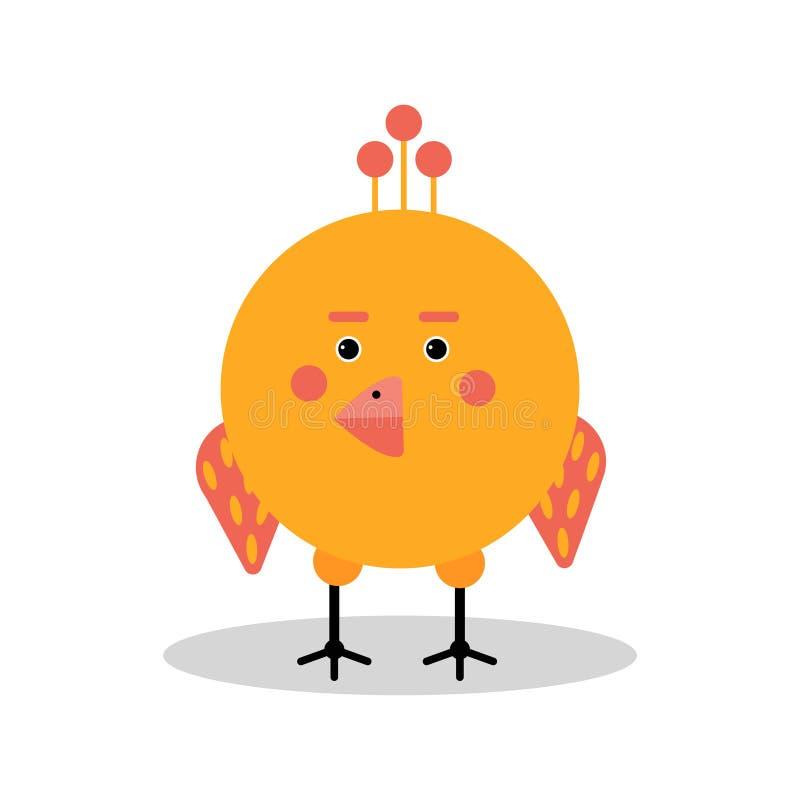 Caractère drôle de poulet de bande dessinée dans l'illustration géométrique de vecteur de forme illustration stock