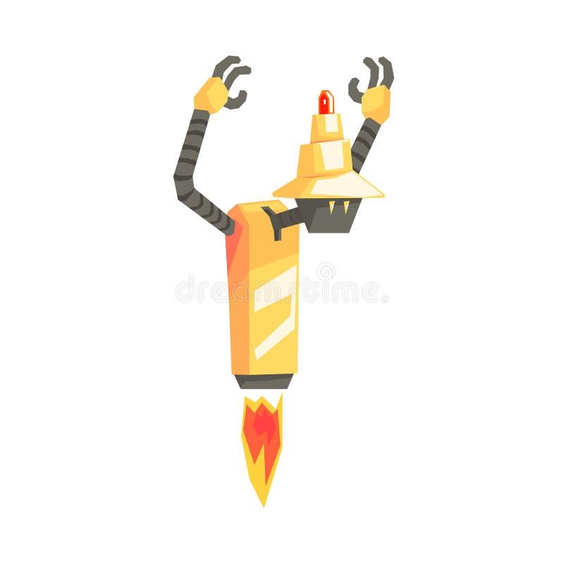 Caractère drôle de robot de bande dessinée avec le propulseur enlevant l'illustration de vecteur illustration de vecteur
