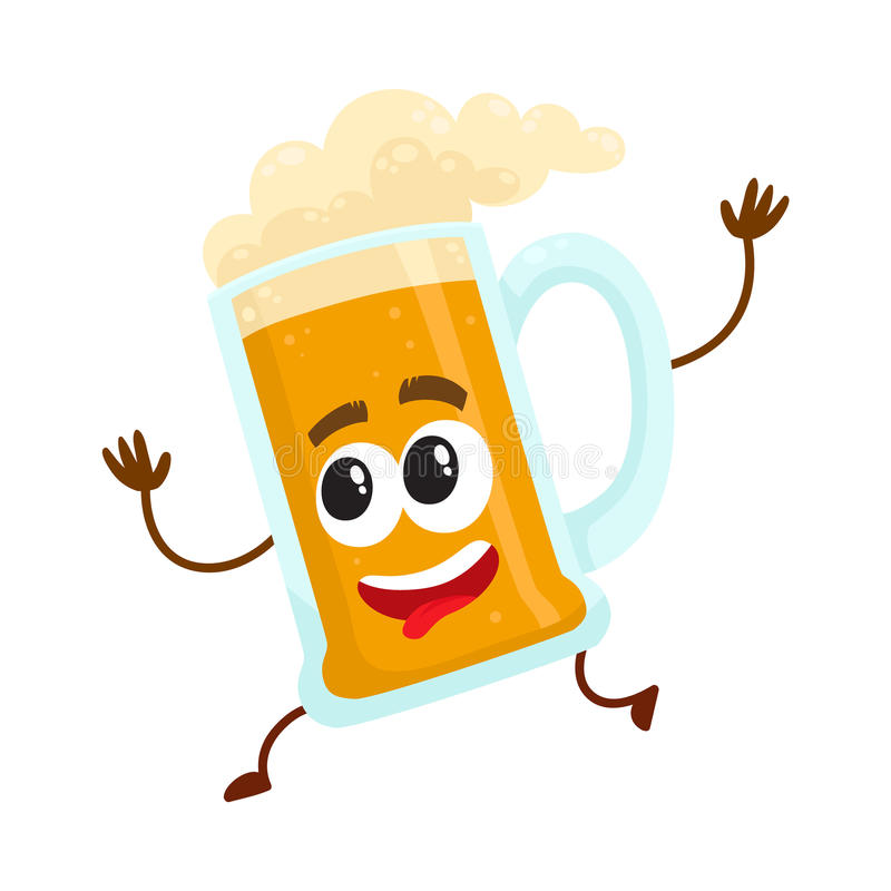 Caractère drôle de tasse en verre de bière avec le fonctionnement de visage humain, se dépêchant illustration de vecteur
