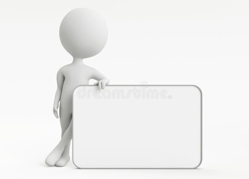 caractère du humanoid 3d avec le panneau vide illustration libre de droits
