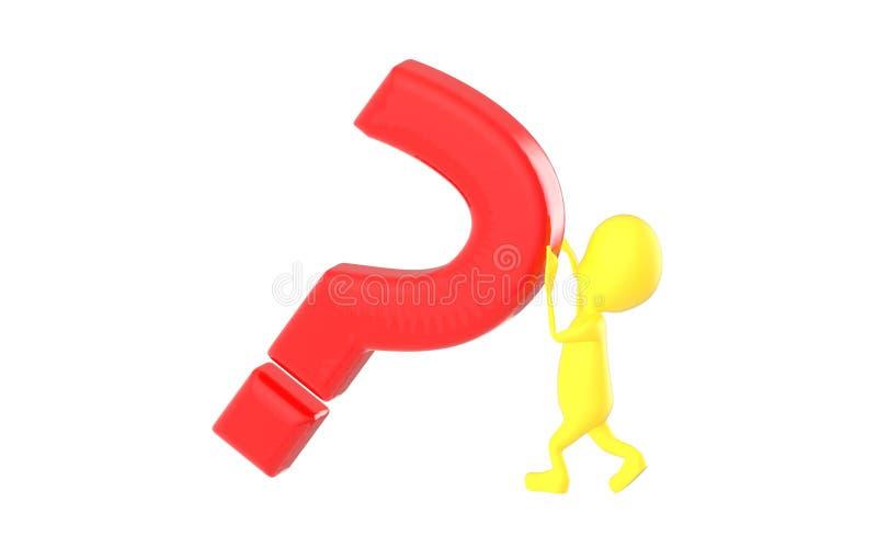 caractère du jaune 3d, poussant le point d'interrogation illustration de vecteur
