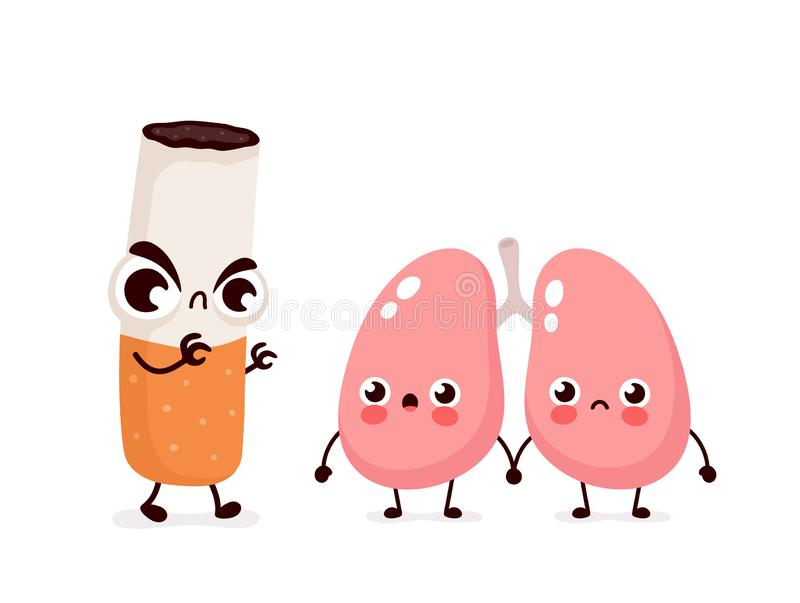 Caractère effrayant fâché de poumons de mise à mort de cigarette illustration de vecteur