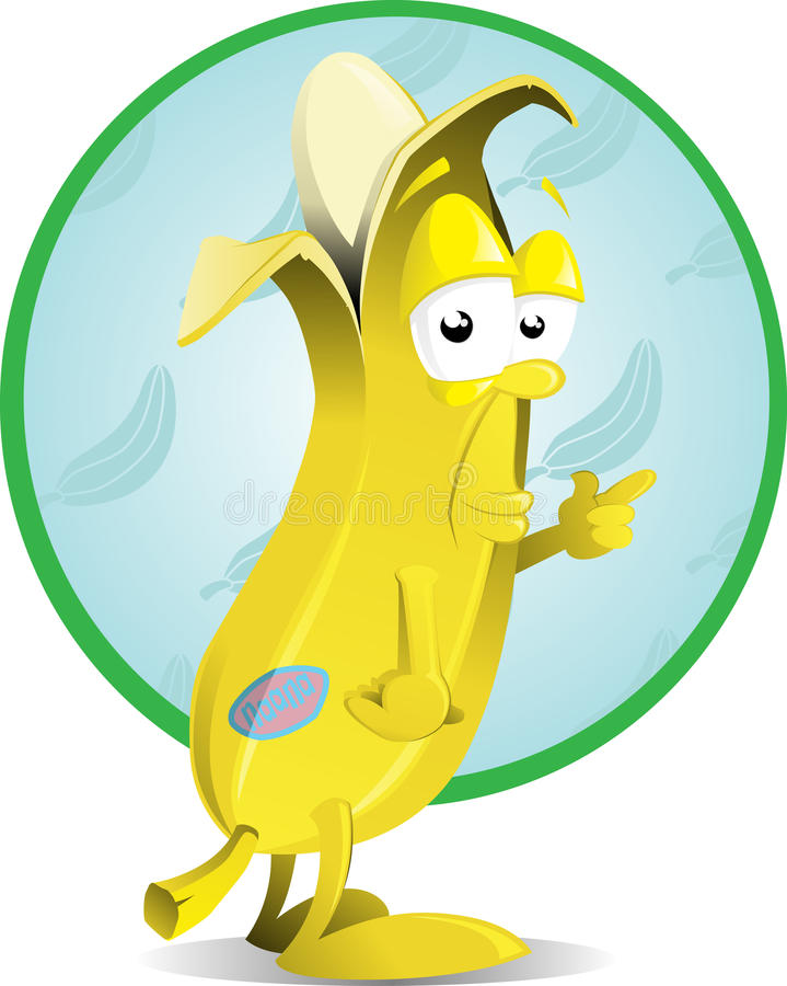 Caractère effronté de banane illustration stock