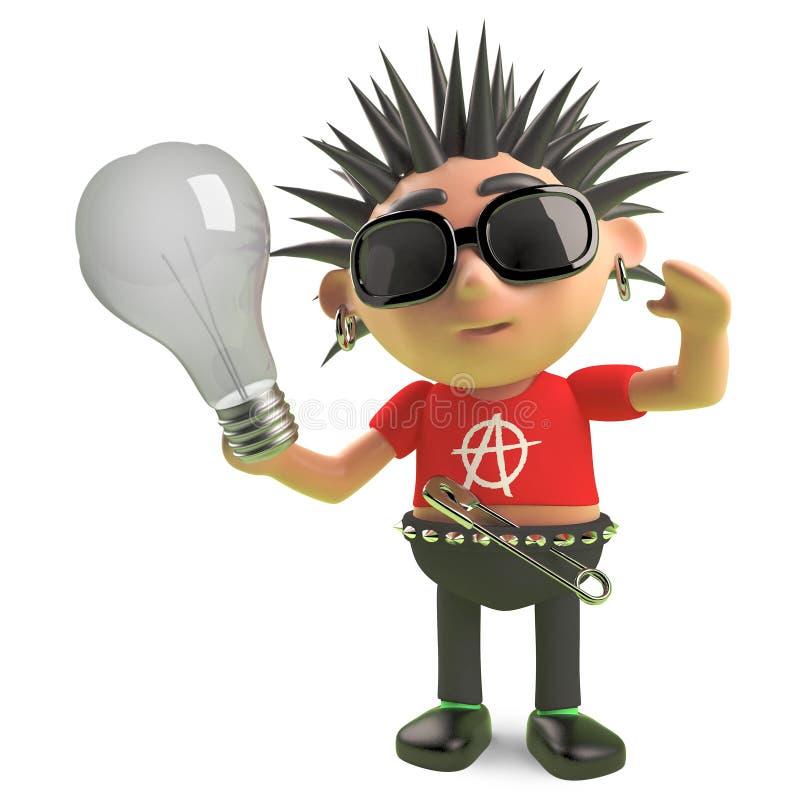 Caractère en épi méchant de punk rock tenant une ampoule, illustration 3d illustration de vecteur