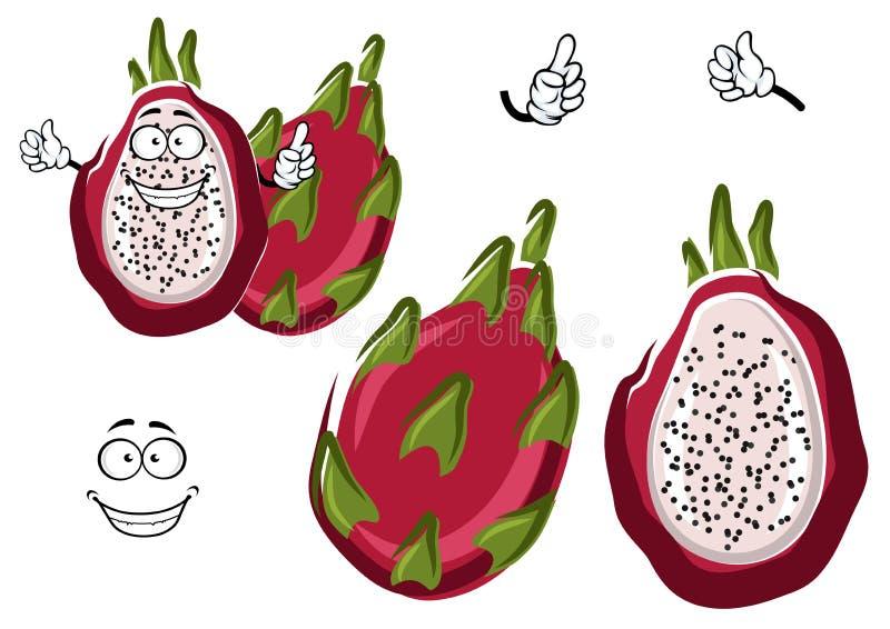 Caractère exotique mûr de pitaya ou de fruit du dragon illustration libre de droits