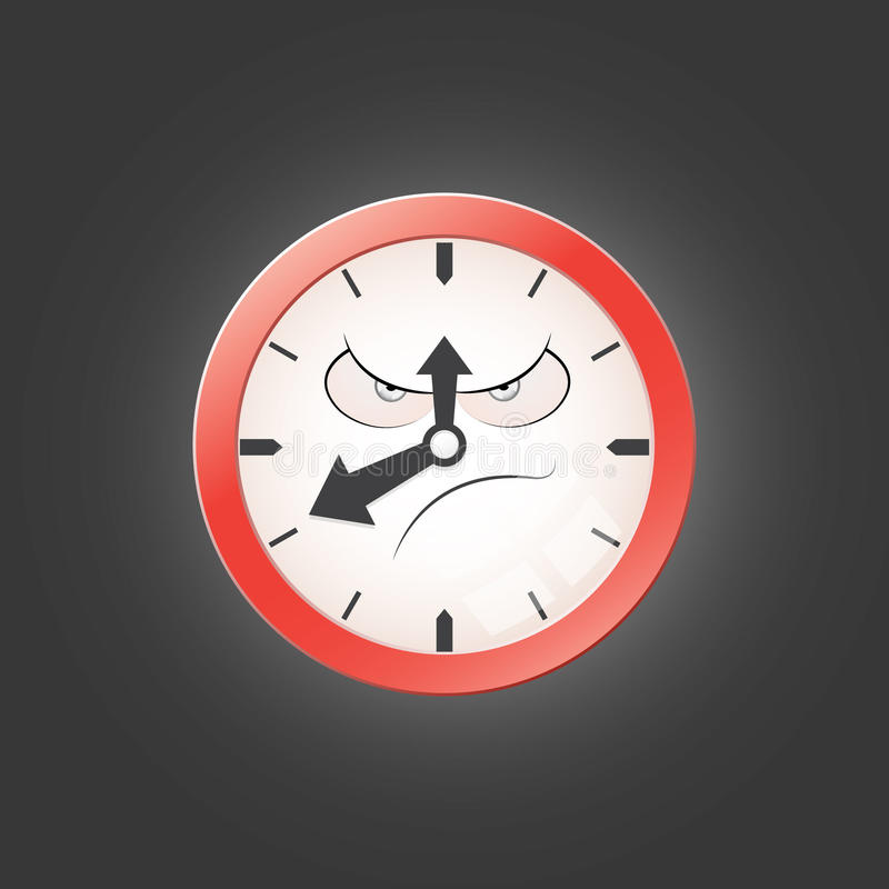 Caractère fâché d'horloge image stock