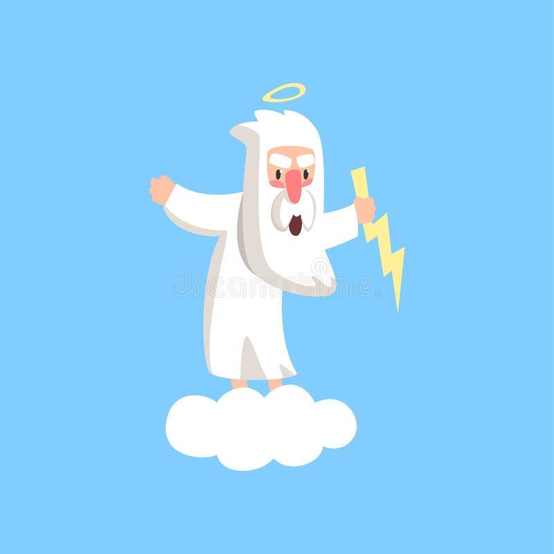 Caractère fâché d'un dieu se tenant sur le nuage blanc pelucheux avec le halo au-dessus de sa tête et foudre dans la main Vecteur illustration stock
