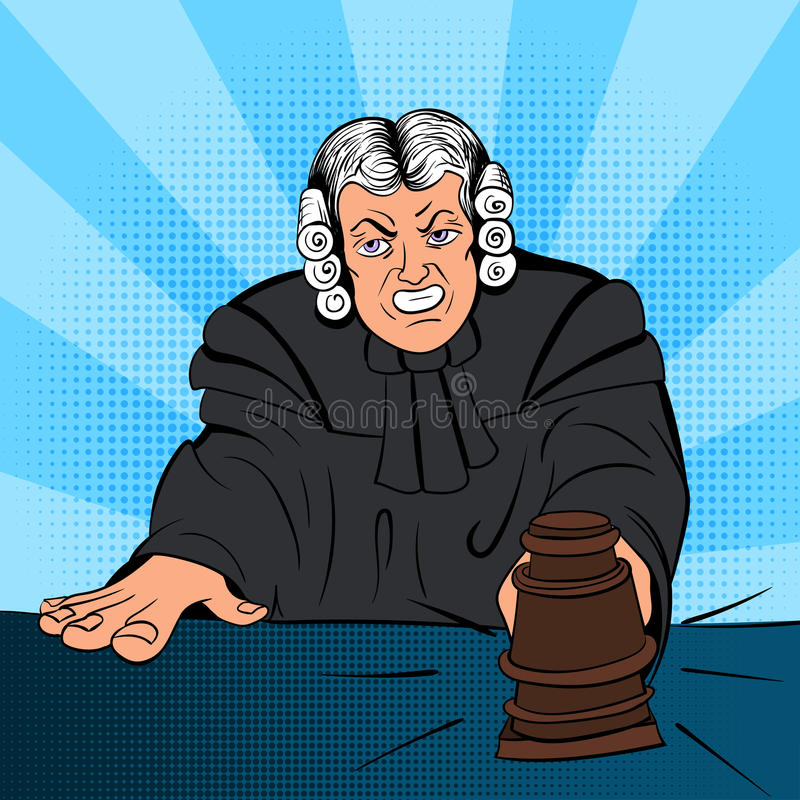 Caractère fâché de bandes dessinées de juge illustration libre de droits