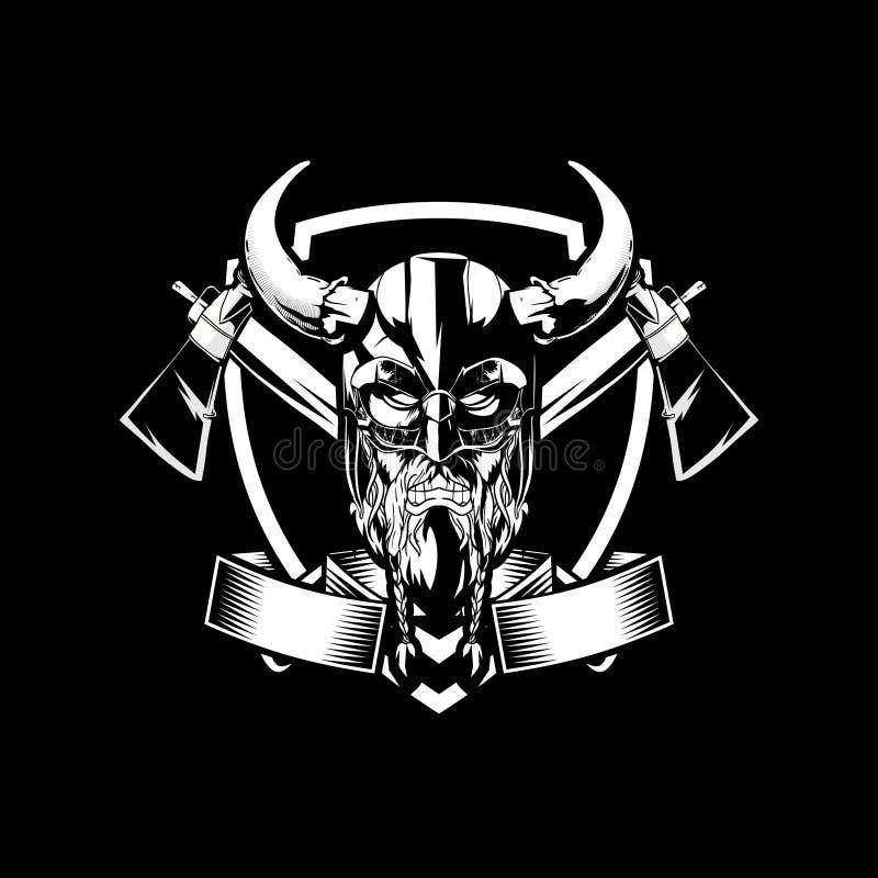 Caractère fâché noir et blanc stupéfiant de Viking avec le calibre de logo d'insigne de vecteur de hache illustration de vecteur
