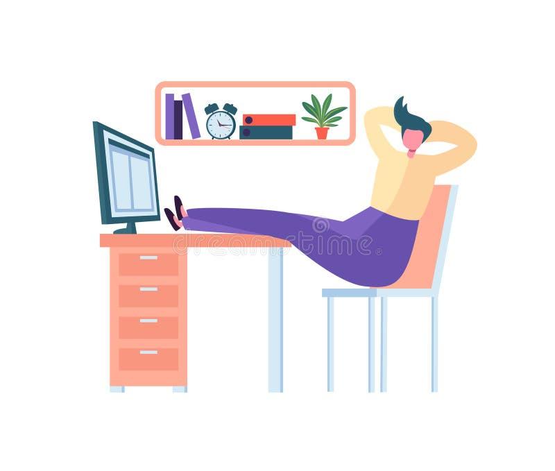 Caractère fatigué d'affaires dormant dans le bureau Chute épuisée de travailleur endormie au travail Homme paresseux dormant derr illustration libre de droits