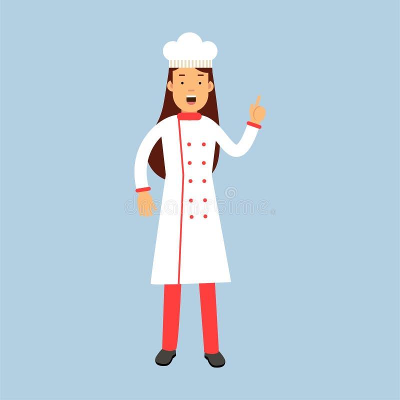 Caractère femelle de cuisinier de chef dans le geste de main de représentation uniforme avec une illustration augmentée d'index illustration stock