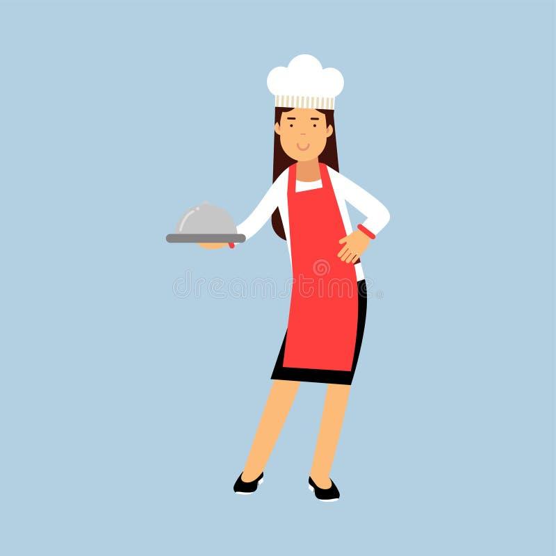 Caractère femelle de cuisinier de chef dans le tablier rouge tenant l'illustration de cloche de plateau illustration libre de droits