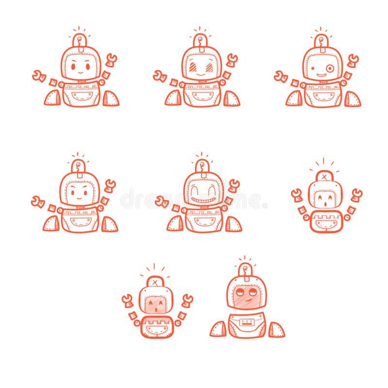 Caractère frais : Petits robots heureux sur le fond blanc illustration libre de droits