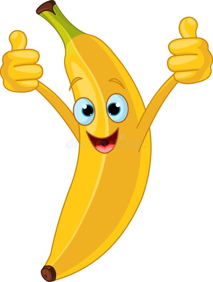 Caractère gai de banane de dessin animé illustration stock