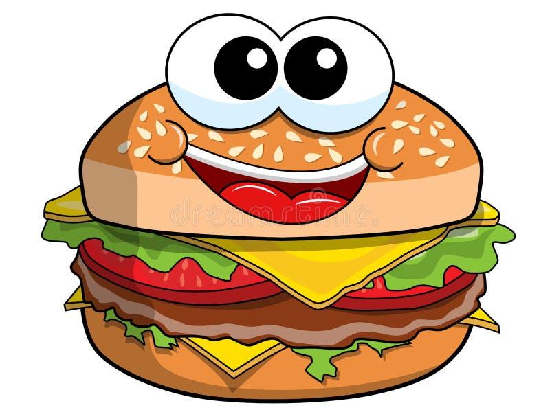 Caractère heureux d'hamburger de bande dessinée d'isolement illustration stock