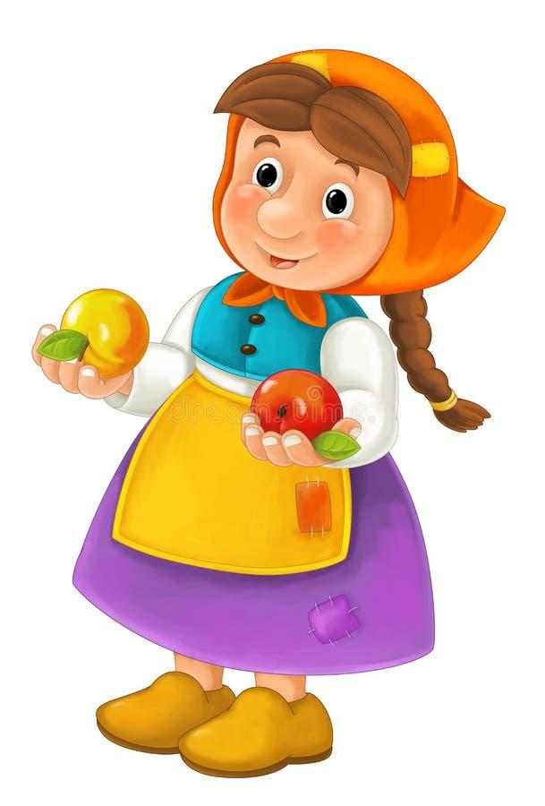 Caractère heureux de bande dessinée de femme de ferme tenant deux pommes dans des mains illustration de vecteur