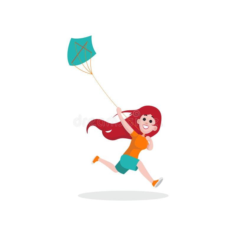 Caractère heureux de fille d'enfant fonctionnant avec le cerf-volant bleu Jeune fille ayant l'amusement dehors Illustration plate illustration de vecteur