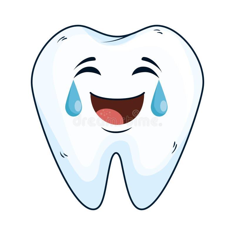 Caractère heureux de kawaii de dent comique illustration libre de droits