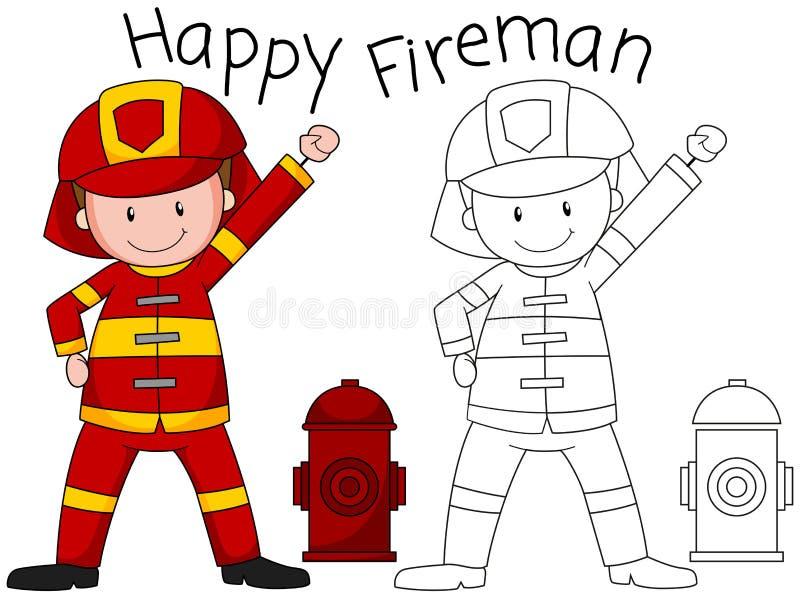 Caractère heureux de pompier de griffonnage illustration stock