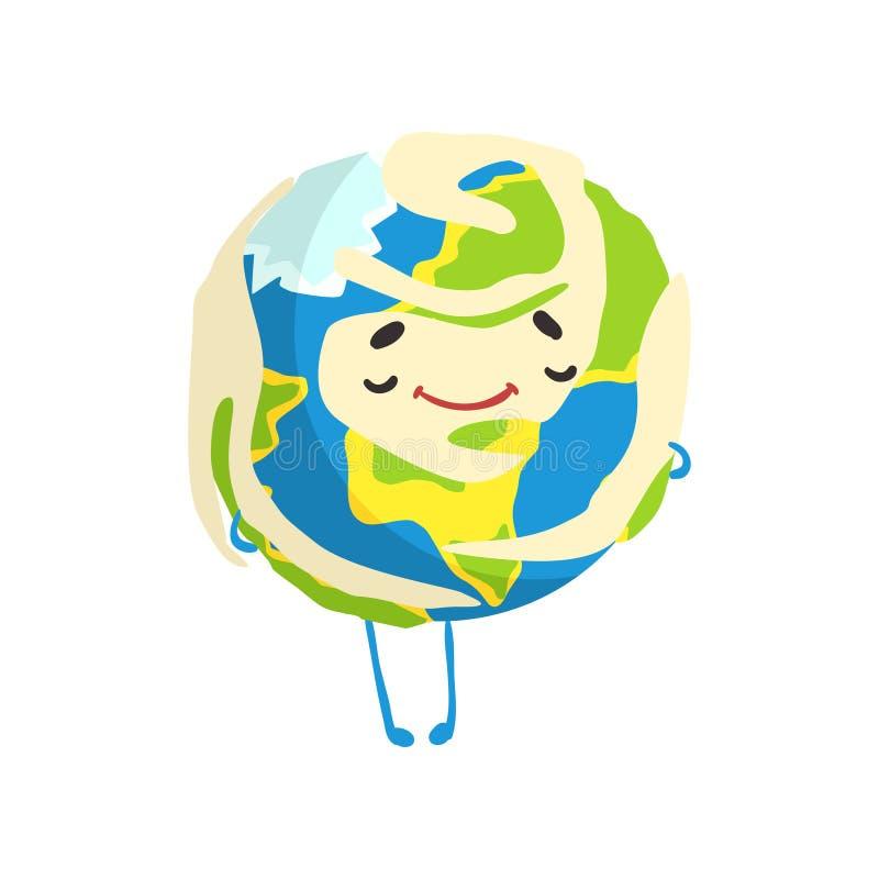 Caractère heureux mignon de planète de la terre de bande dessinée souriant, illustration drôle de vecteur d'emoji de globe illustration libre de droits