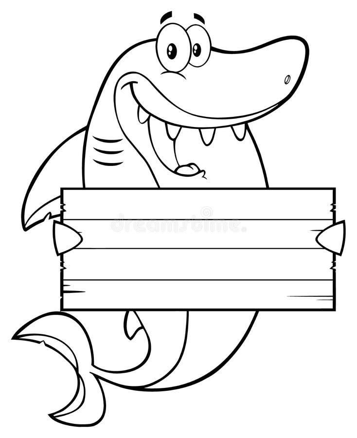 Caractère heureux noir et blanc de mascotte de bande dessinée de requin tenant un signe vide en bois illustration de vecteur