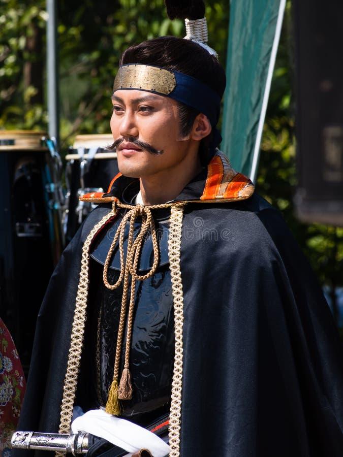 Caractère historique d'Oda Nobunaga au festival de Nobunaga à Gifu, Japon images stock