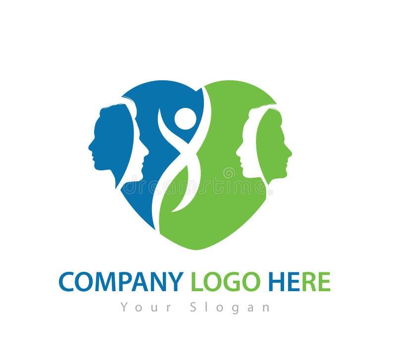 Caractère humain avec le logo de concept, le vecteur verts de logo d'homme et de femme illustration stock