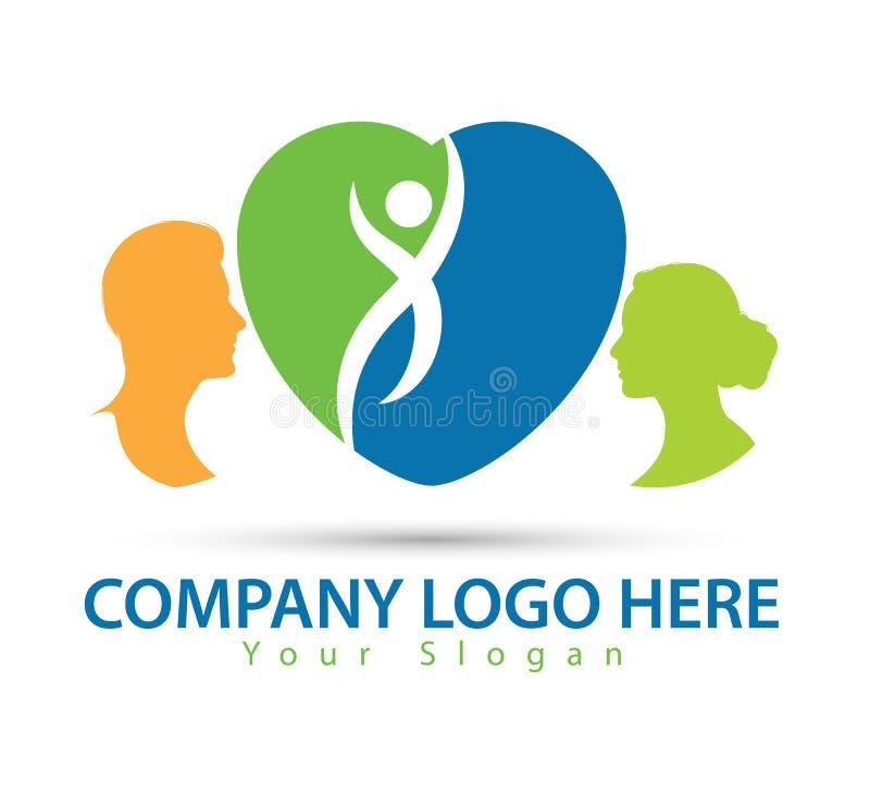 Caractère humain avec le logo de concept, le vecteur verts de logo d'homme et de femme illustration de vecteur
