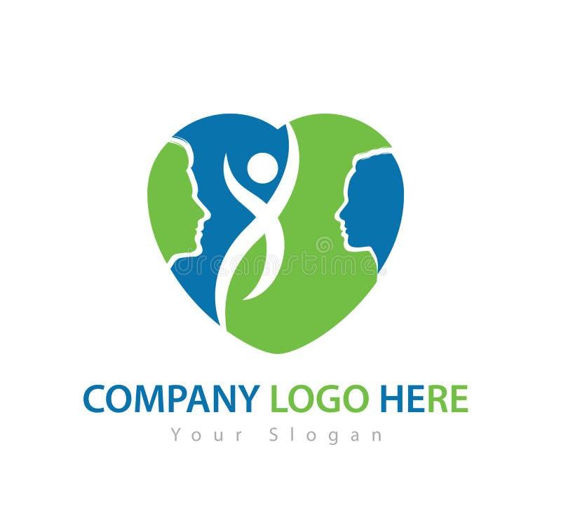 Caractère humain avec le logo de concept, le vecteur verts de logo d'homme et de femme illustration libre de droits