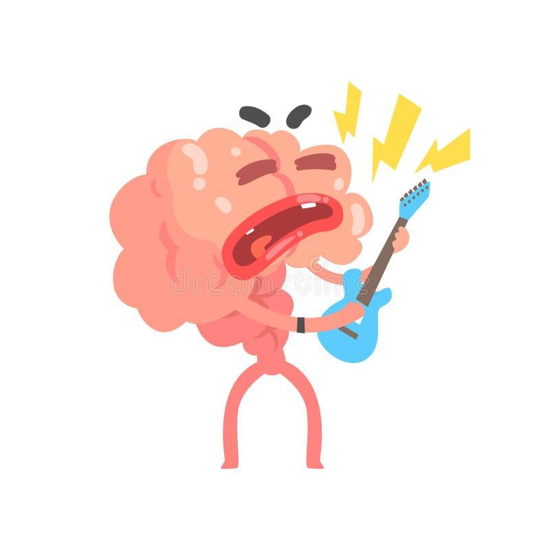 Caractère humanisé de cerveau de bande dessinée jouant la guitare, illustration de vecteur d'organe humain d'intellect illustration stock
