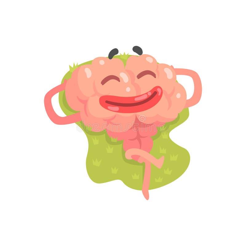 Caractère humanisé heureux de cerveau de bande dessinée se trouvant et prenant un bain de soleil, vecteur Illustratio d'organe hu illustration stock