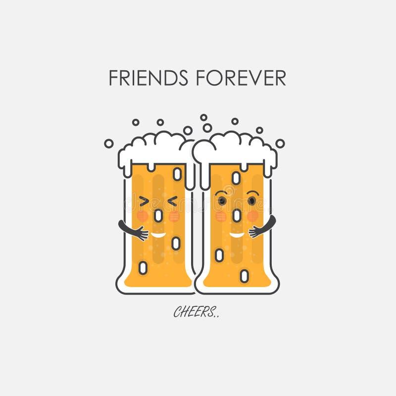 Caractère ivre en verre de bière Amis pour toujours célébration et hasard illustration libre de droits
