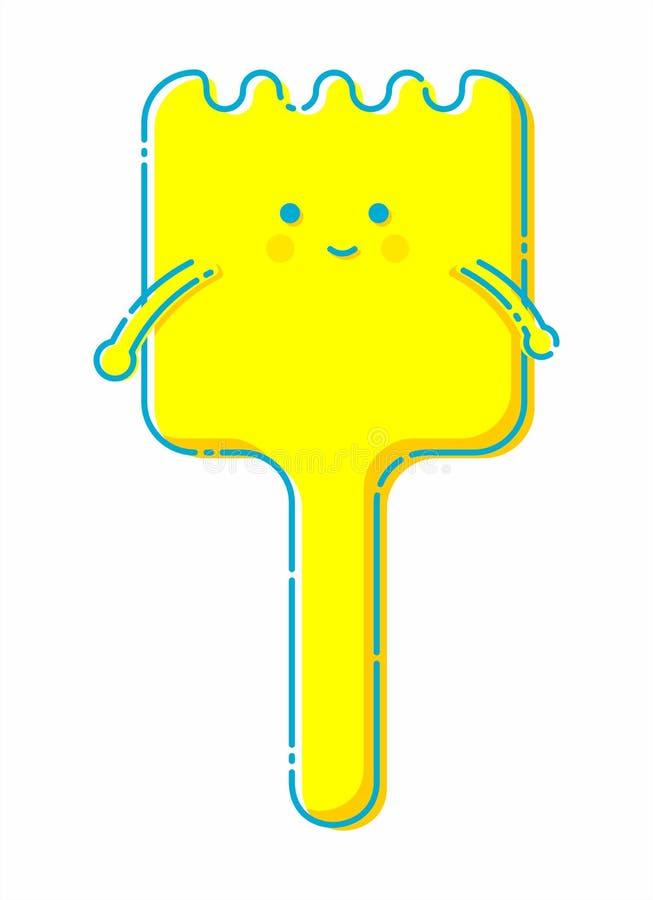 Caractère jaune mignon de spatule illustration libre de droits