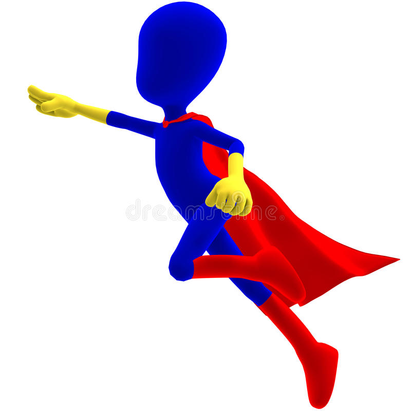 Caractère mâle symbolique de 3d Toon en tant que héros superbe illustration stock
