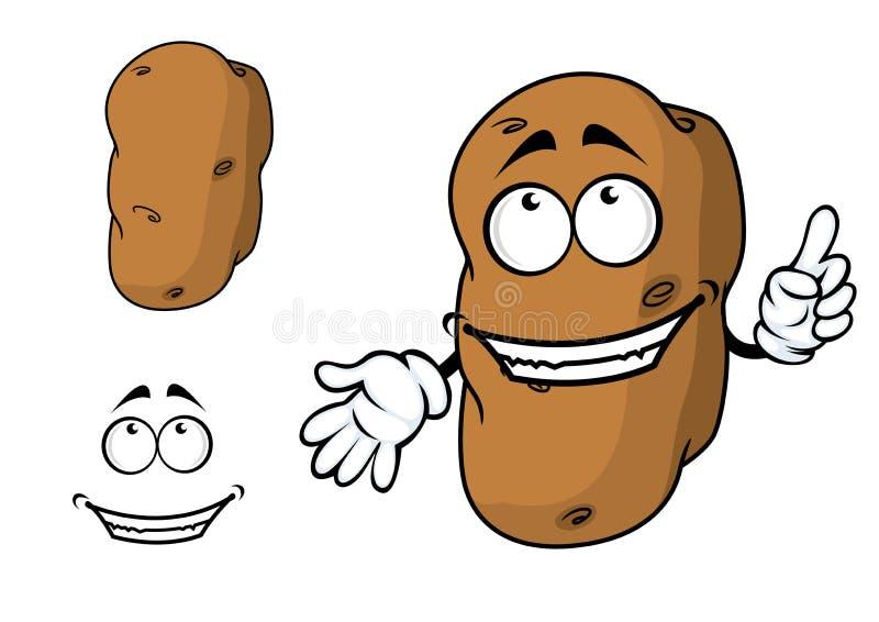 Caractère maladroit heureux de pomme de terre de bande dessinée illustration libre de droits