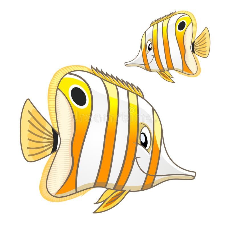 Caractère marin tropical de butterflyfish de bande dessinée illustration stock
