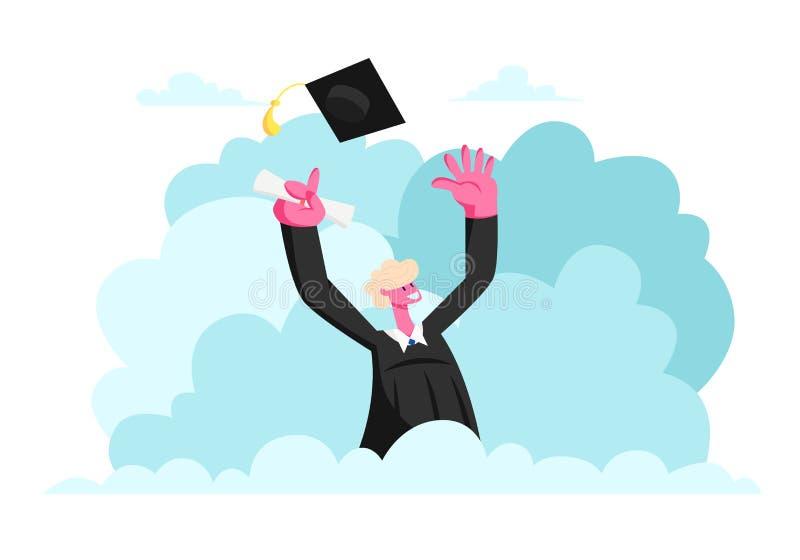 Caractère masculin dans le jet disponible de certificat de diplôme de participation de robe d'obtention du diplôme vers le haut d illustration libre de droits