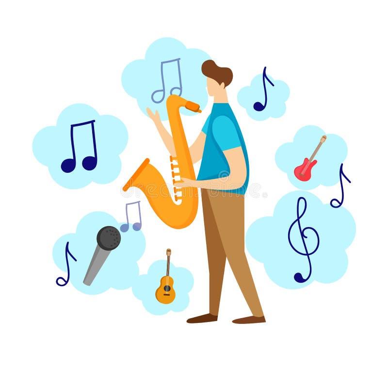 Caractère masculin moderne jouant le jazz par le saxophone illustration stock