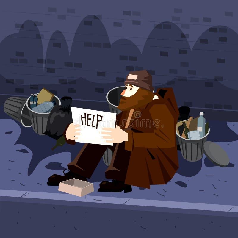 Caractère masculin triste sans abri de pauvre personne prier l'argent d'aide près des conteneurs de déchets Fond de Streetscape V illustration stock