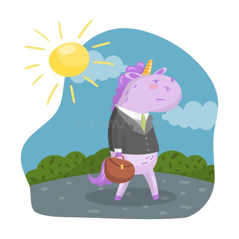 Caractère mignon d'homme d'affaires de licorne dans un costume avec la serviette marchant dans le jour d'été, dans l'illustration illustration de vecteur