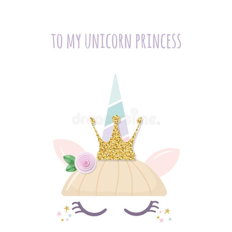 Caractère mignon de catroon de princesse de licorne Pour l'anniversaire, la fête de naissance, les vêtements et les affiches conç illustration de vecteur