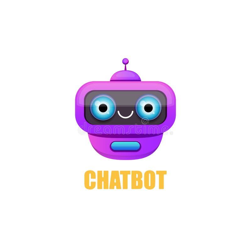 Caractère mignon de chatbot d'isolement sur le fond blanc Assistant drôle de robot de vecteur, bot de broutement, logo de chatbot illustration stock