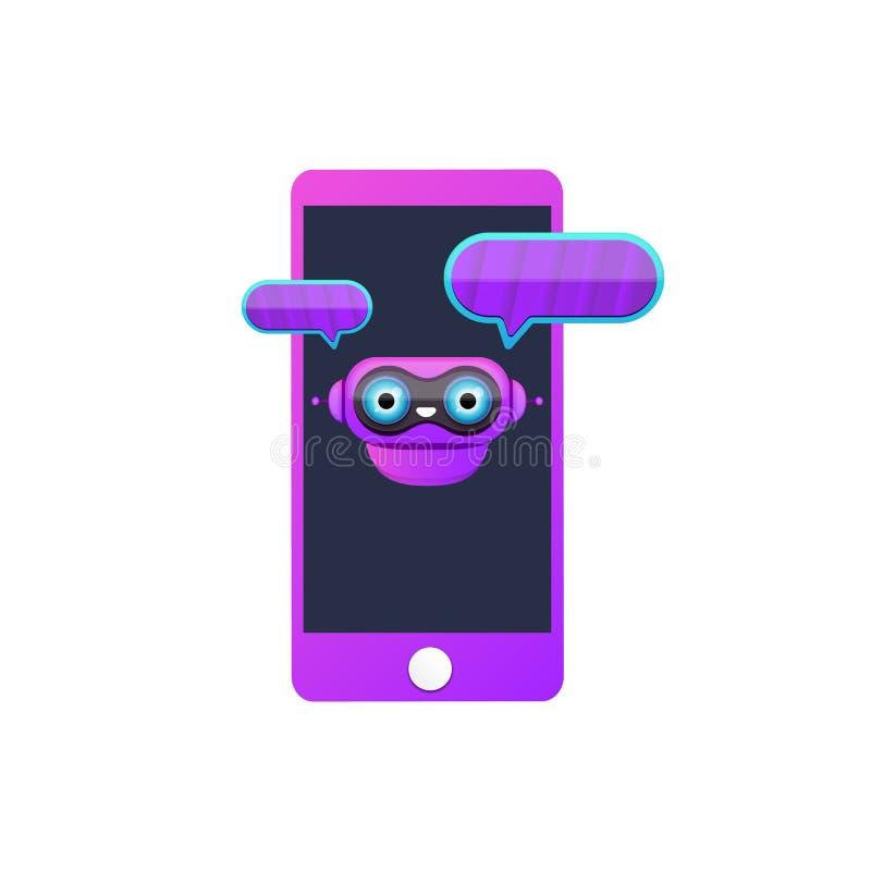 Caractère mignon de chatbot ou assistant intelligent de téléphone intelligent d'isolement sur le fond blanc Assistant drôle de ro illustration stock