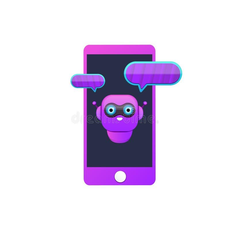 Caractère mignon de chatbot ou assistant intelligent de téléphone intelligent d'isolement sur le fond blanc Assistant drôle de ro illustration libre de droits