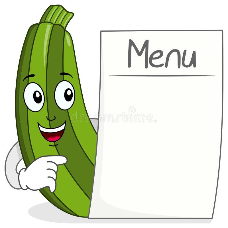 Caractère mignon de courgette avec le menu vide illustration stock