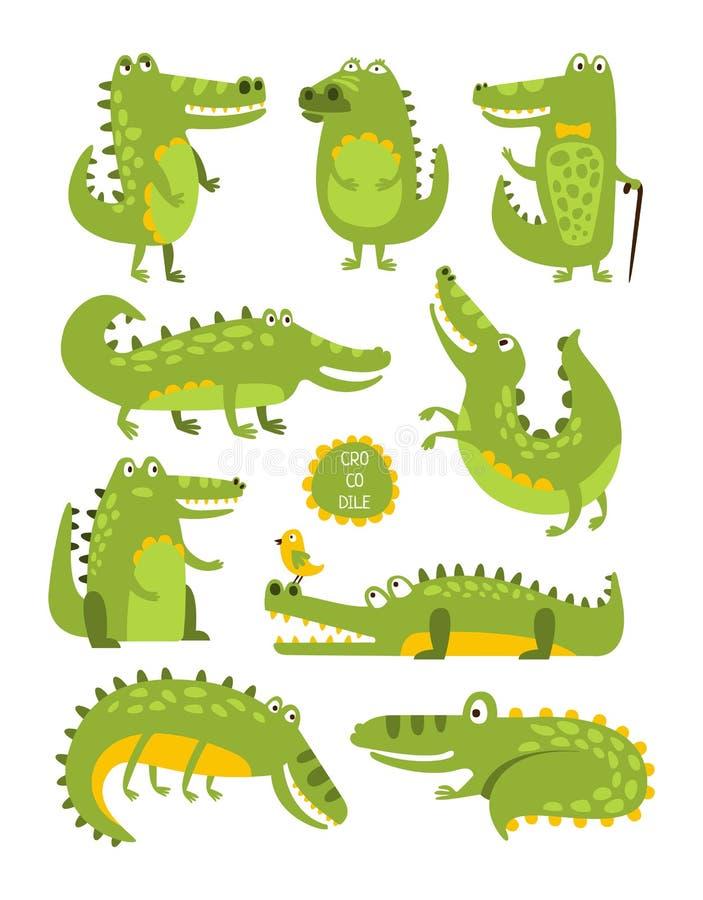 Caractère mignon de crocodile dans autocollants puérils de différentes poses illustration stock