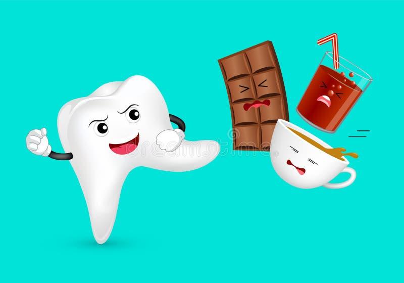 Caractère mignon de dent de bande dessinée attaquant la nourriture et la boisson malsaines illustration stock