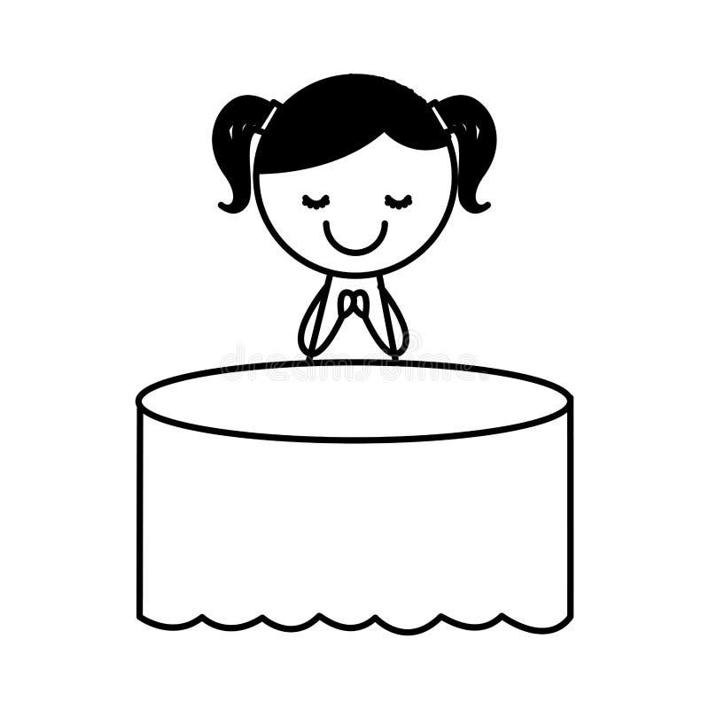 Caractère mignon de dessin de petite fille sur la table illustration de vecteur