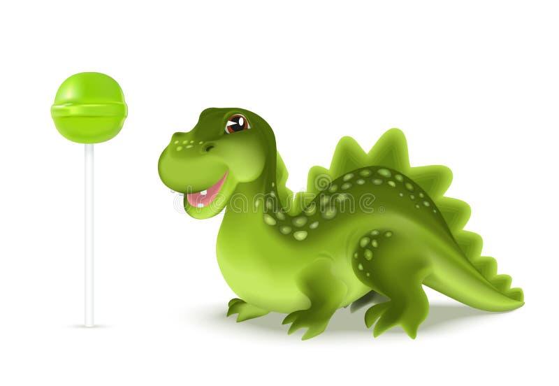 Caractère mignon de dragon de dinosaure de bande dessinée avec le lollypop vert Illustration de vecteur illustration stock